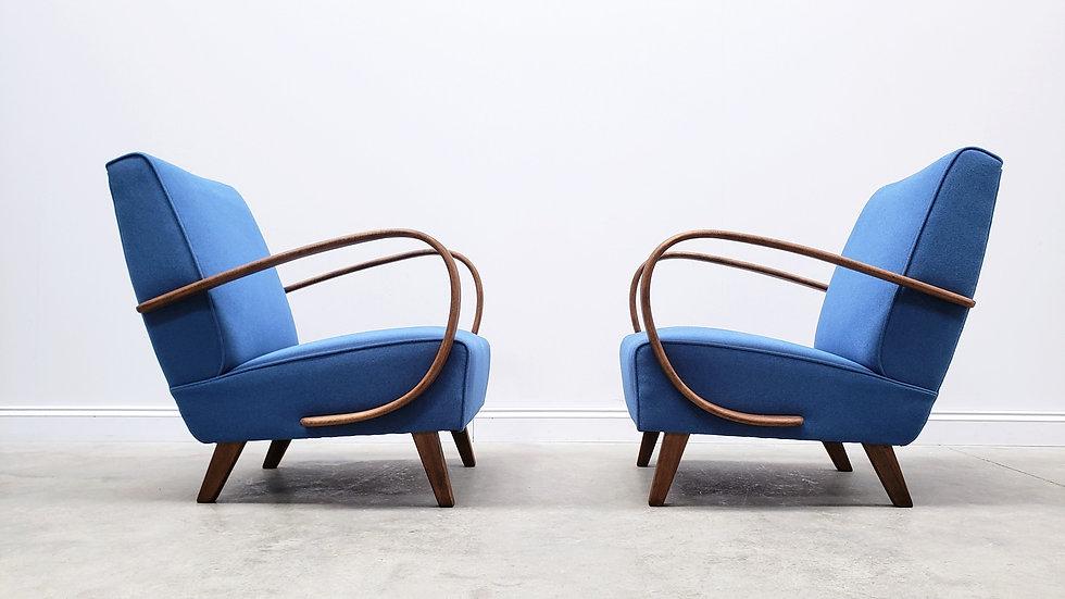 1930 Jindrich Halabala Bentwood Armchair in Blue