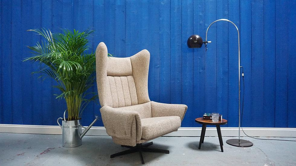 1960's Large Mid Century  Modern Danish Swivel Armchair in Vintage Wool