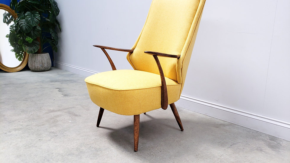 Mid Century Cocktail High Back Chair in Yellow, 1960