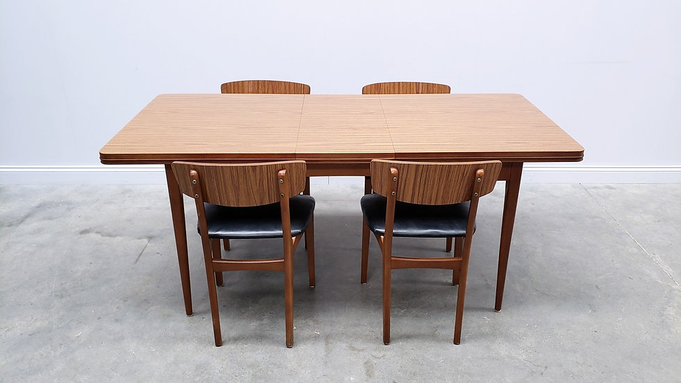 Mid Century Set of Adjustable Coffee Table and Four Chairs