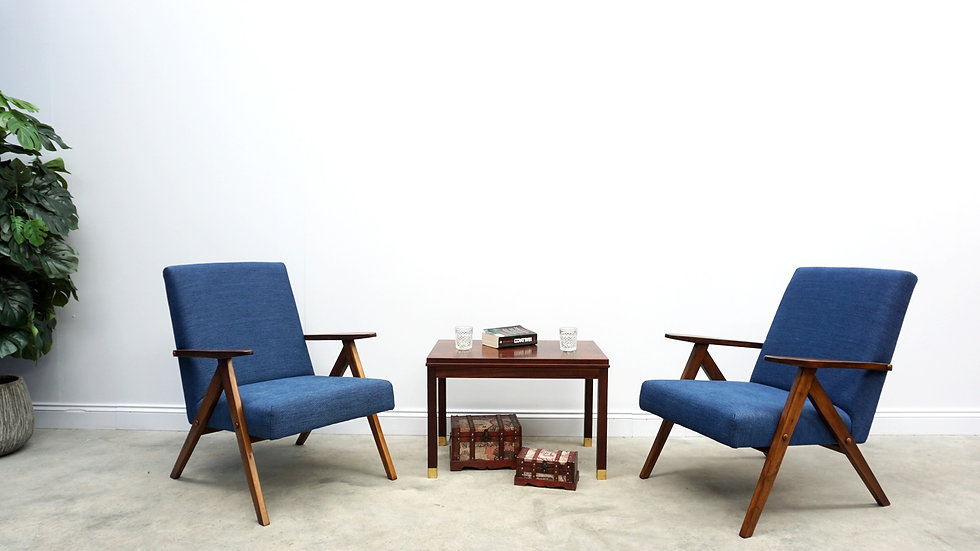 1960 Mid Century Easy Chairs Model B 310 Var in Navy Blue, 1 of 2