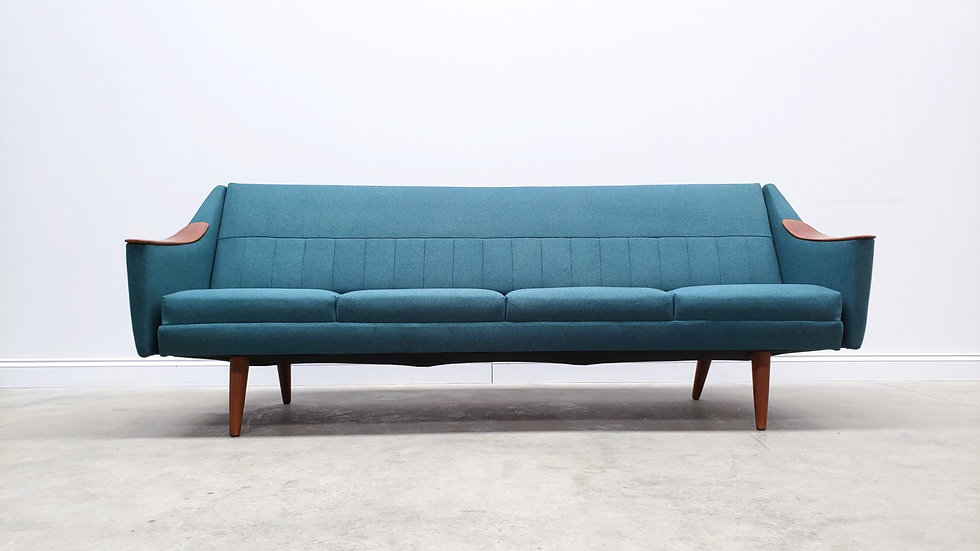 1960 Mid Century Danish Teak Sofa Bed in Forest Green Upholstery