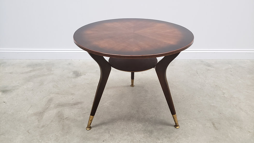 Mid Century Round Coffee Table, Side Table from 1960's in Dark