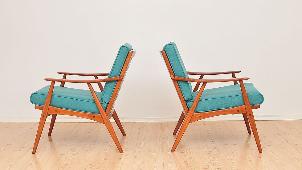 Mid Century Turquoise Armchairs from 1960's Danish Design