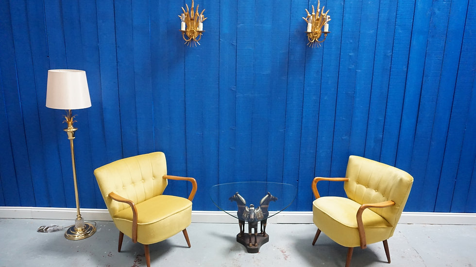 Mid Century Cocktail Club Chair in Yellow Velvet, from 1960's, Set of 2