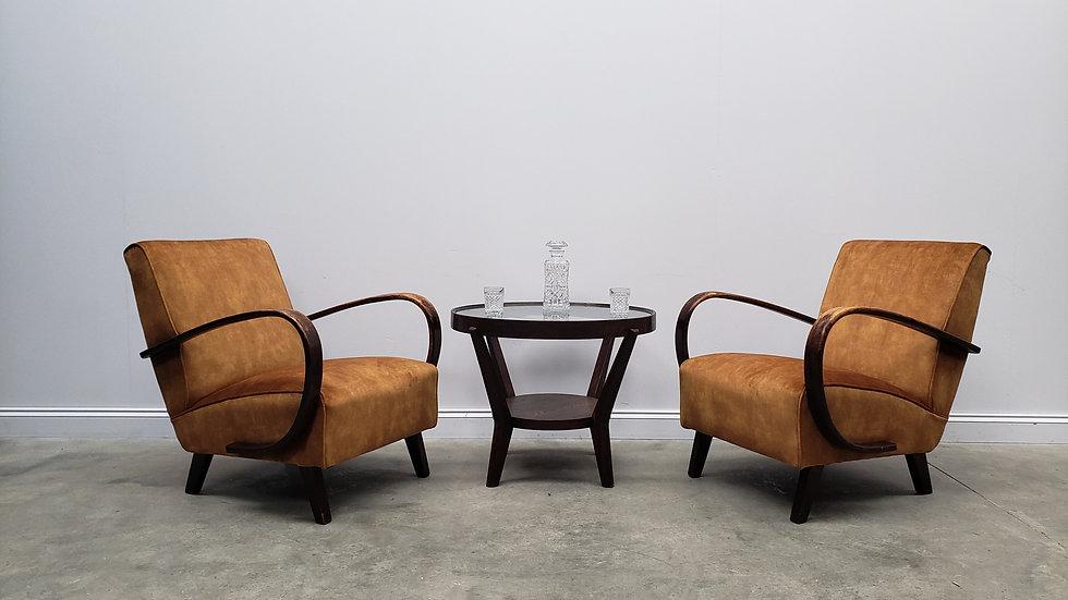 1930 Jindrich Halabala Bentwood Armchairs in Rusty Brown Velvet, 1 of 2