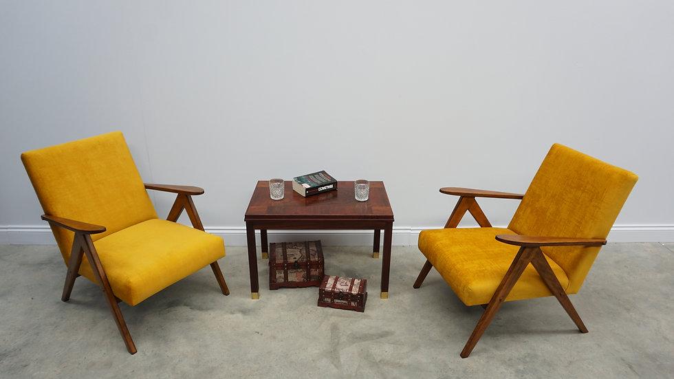 1 Left Only, 1960 Model B 310 Var Mid Century Easy Chairs in Yellow Velvet
