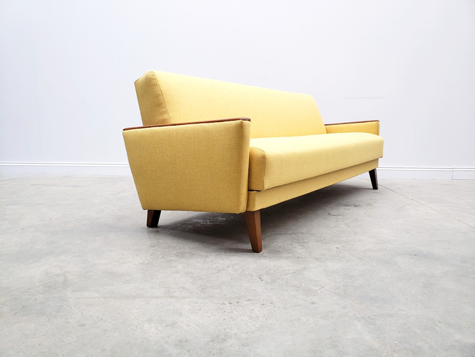1960 Mid Century Danish Three Seat Sofa Bed in Yellow Upholstery