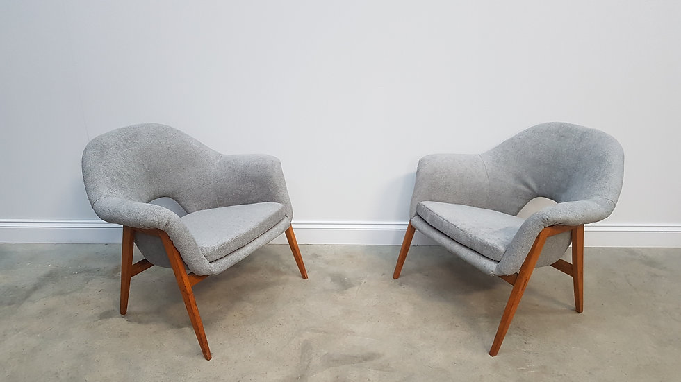 Beautiful Pair of 1960s Miroslav Navratil Club Chairs in Grey