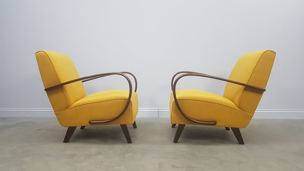 Pair of 1930 Jindrich Halabala Bentwood Armchairs in Yellow, Thonet