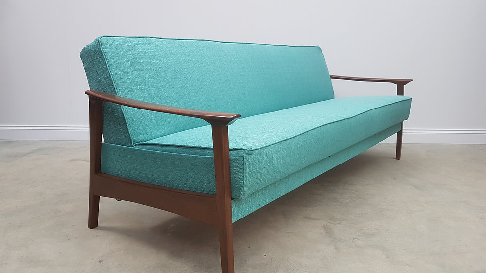 Mid Century Danish 3 Seat Sofa Bed from the 60's, in Light Turquoise