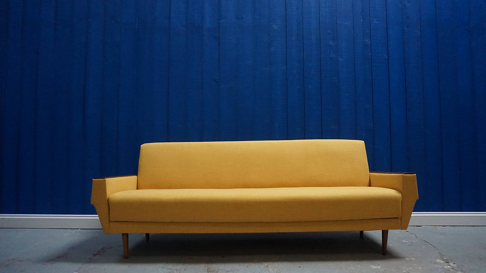 Mid Century Danish Three Seater Sofa / Bed in Yellow, 1960's