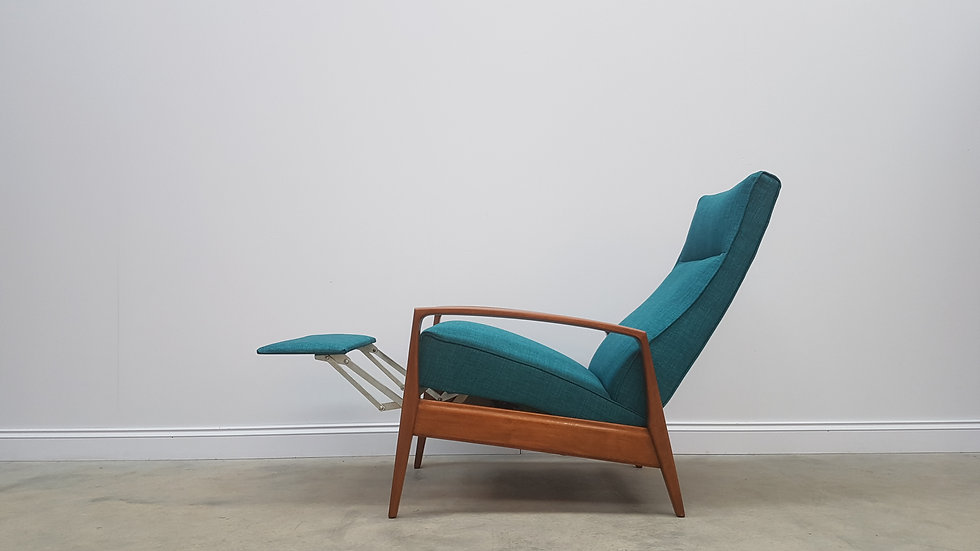 1960's Mid Century Danish Recliner Armchair in Turquoise Tweed