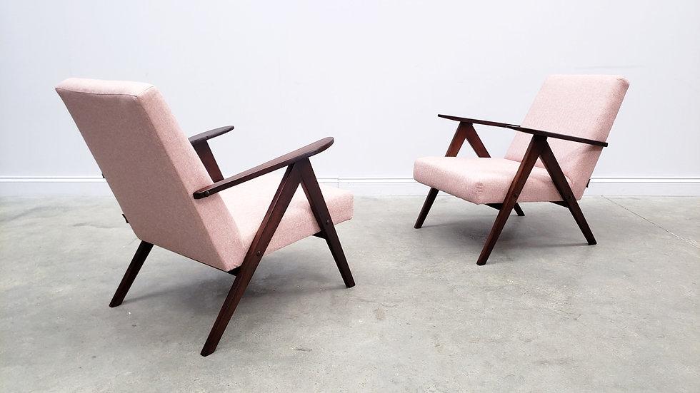 Mid Century Easy Chair Model B - 310 Var in Light Pink Tweed