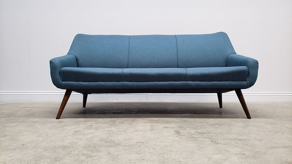 Mid Century 3 Seat Danish Sofa in Navy Blue Tweed, 1960's