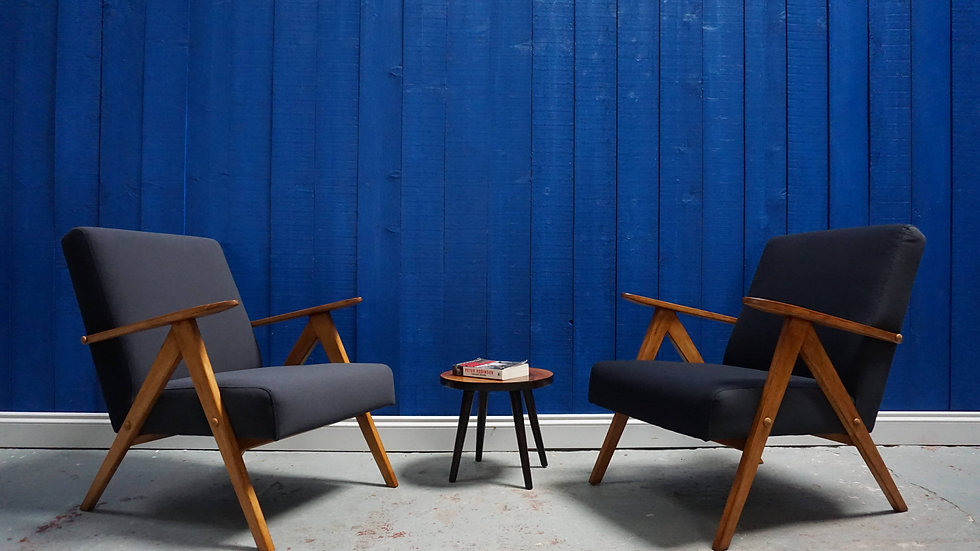 Mid Century Modern Easy Chairs from 1960's in Graphite Velvet, 1 of 2