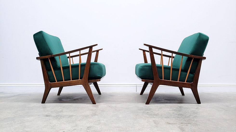 1950 Armchairs by Wilhelm Knoll for Antimott in Green Velvet