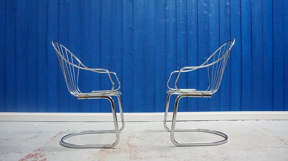Mid Century Modern Chrome Chairs, 1970s, Set of 2