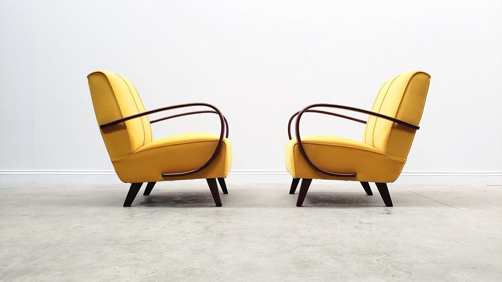 1930 Jindrich Halabala Bentwood Armchairs in Yellow Velvet
