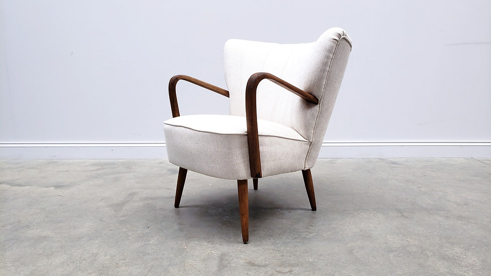 Mid Century Cocktail Club Chair in Light Grey, 1960
