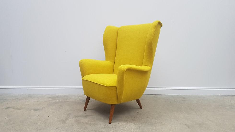 Mid Century Danish Large Wing Back Lounge Armchair, 1960