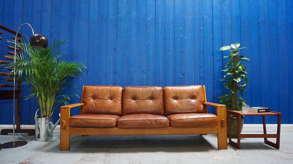 Vintage Bonanza Leather Sofa by Esko Pajamies for Asko, Finland 1960's