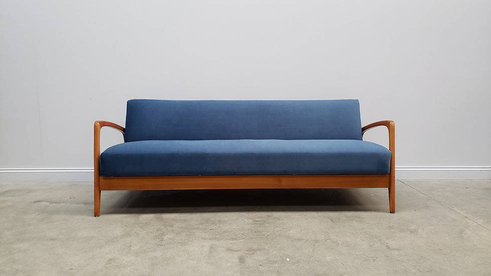 Mid Century Danish 3 Seat Sofa Bed from the 60's, in Blue Velvet