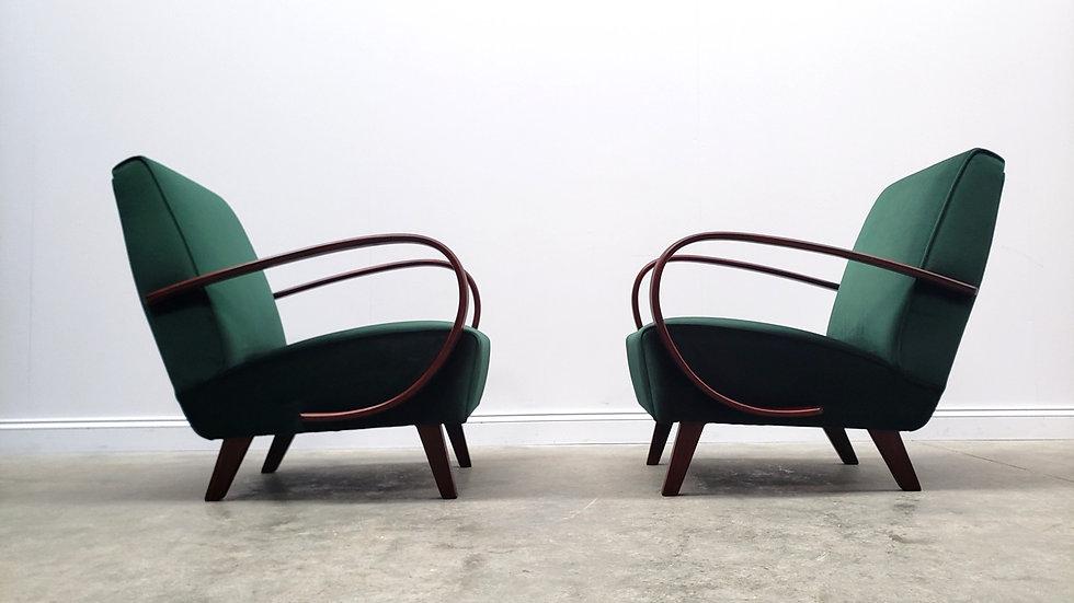 1930 Jindrich Halabala Bentwood Armchairs in Luxury Green Velvet, Thonet