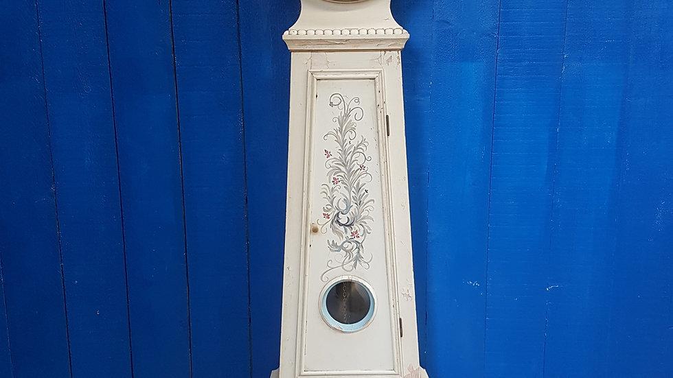 19th Century Swedish Antique Mora Hand Painted Clock, in White
