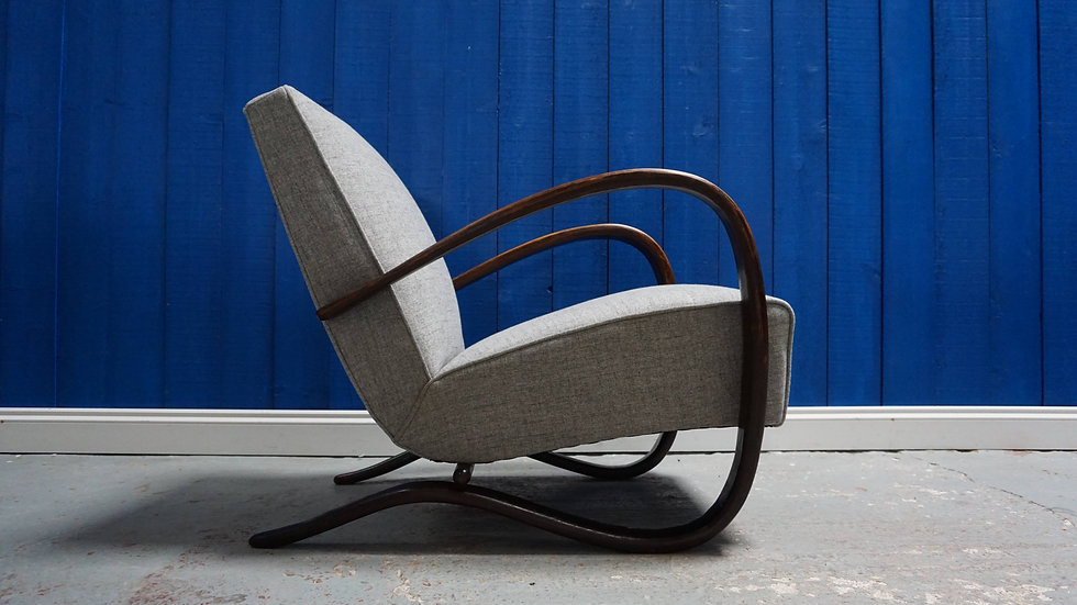 Jindrich Halabala H - 269 Bentwood Armchairs in Grey, Thonet 1930