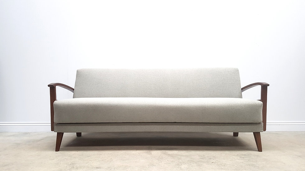 1960 Mid Century 3 Seat Retro Sofa Bed in Light Grey Upholstery