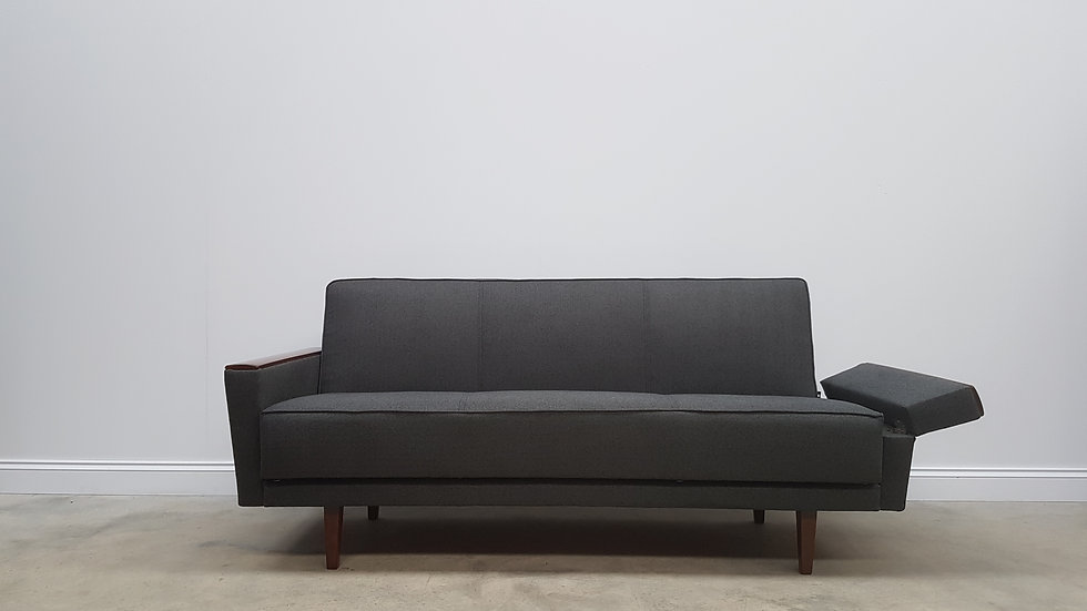 Mid Century Danish Sofa Day Bed from the 60's, in Dark Grey Tweed