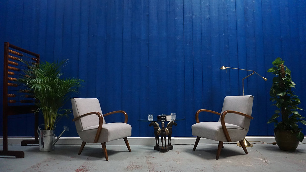 Mid Century Czech Bentwood Chairs in Grey, from 1960's Bentwood, Halabala Vintage Modern