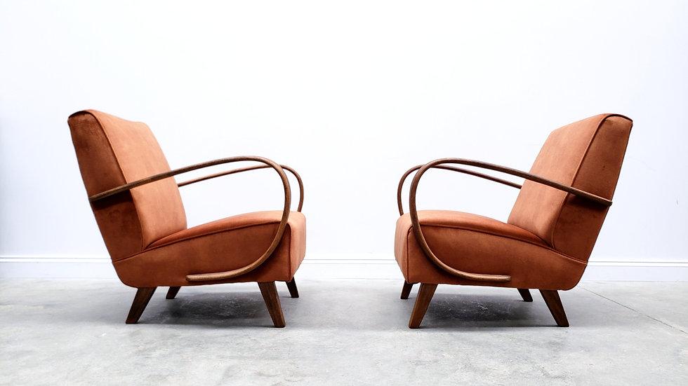 1930 Jindrich Halabala Bentwood Armchairs in Rust Brown Velvet