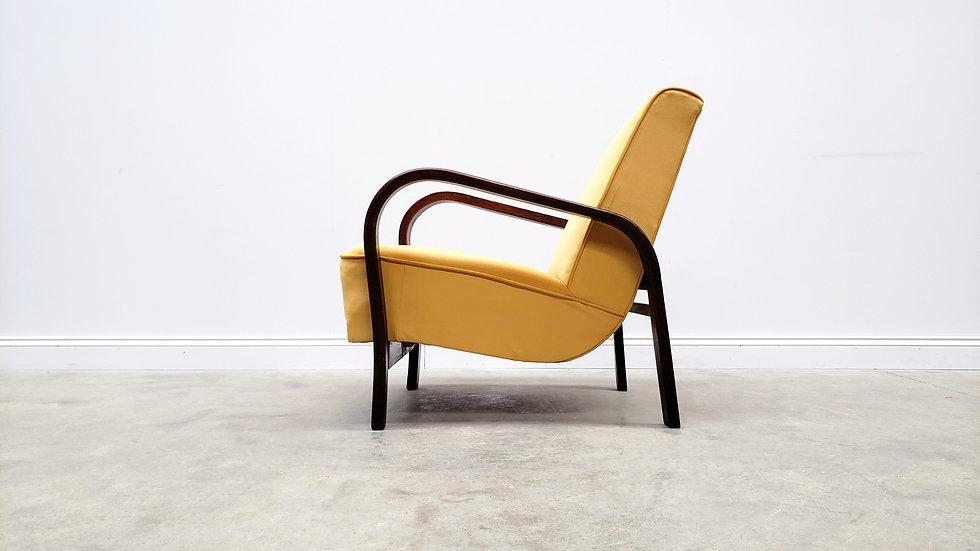 1950 Lounger by K. Kozelka and A. Kropacek in Mild Yellow Velvet