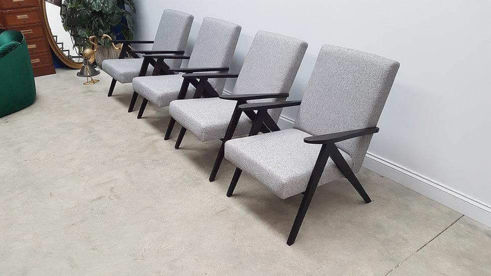 1960 Model B 310 Var Mid Century Easy Chairs in Dark Grey Tweed, 1 of 4