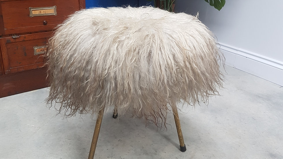 Mid Century Long Hair Lambskin Stool. 1960