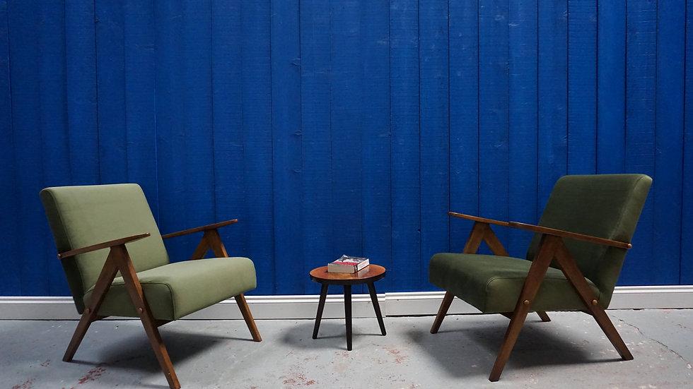 Mid Century Modern Easy Chairs from 1960's in Dark Green Velvet, 1 of 2