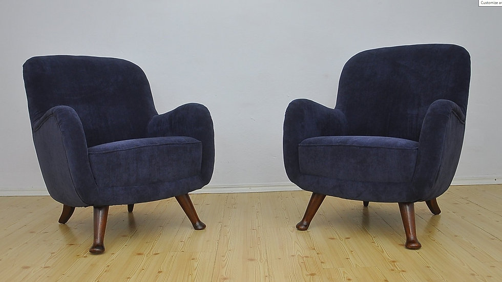 Pair of Armchairs from Berga Mobler in Navy Blue, Sweden 1940