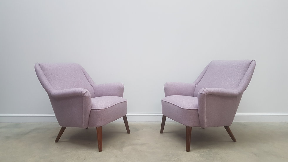 Pair of Mid Century Armchairs in Mauve Tweed Wool from 1950's