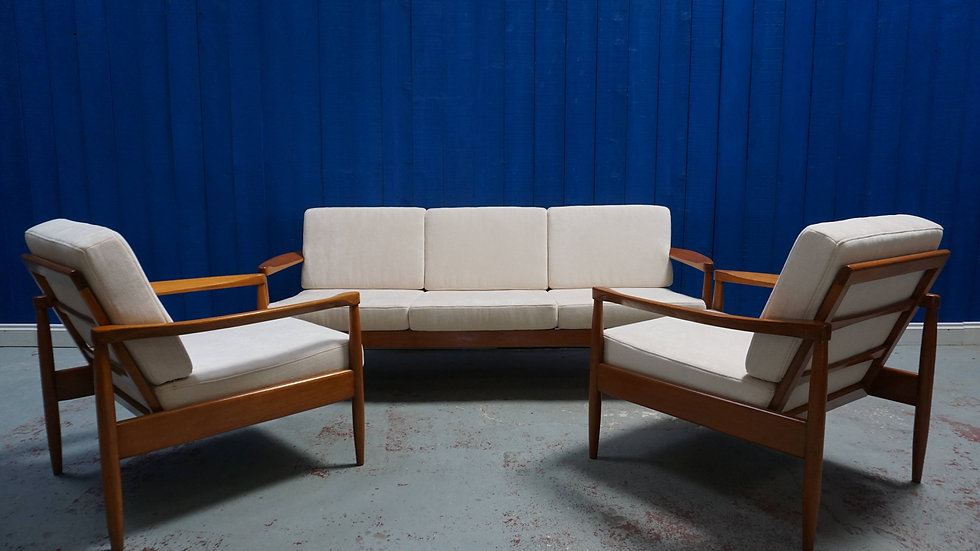 3 + 1 + 1 Mid Century Modern Danish Living Room Set, Sofa and Armchairs