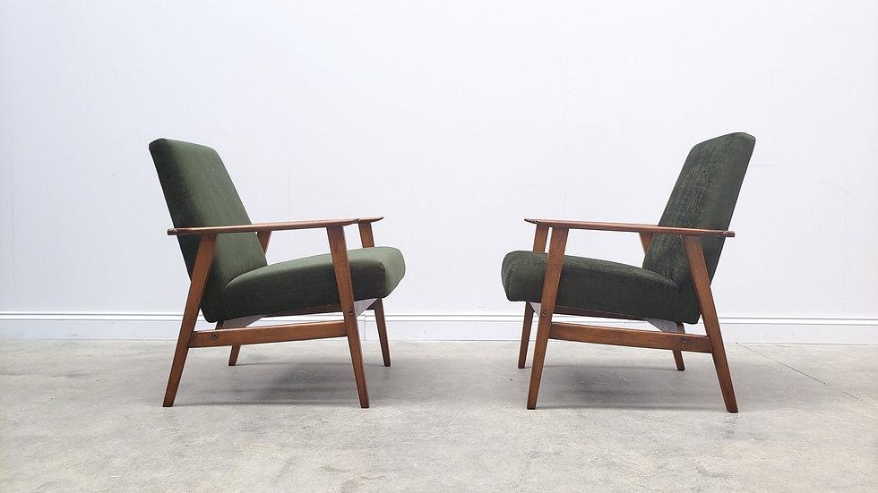 Mid Century Armchair in Forest Green Velvet, 1960