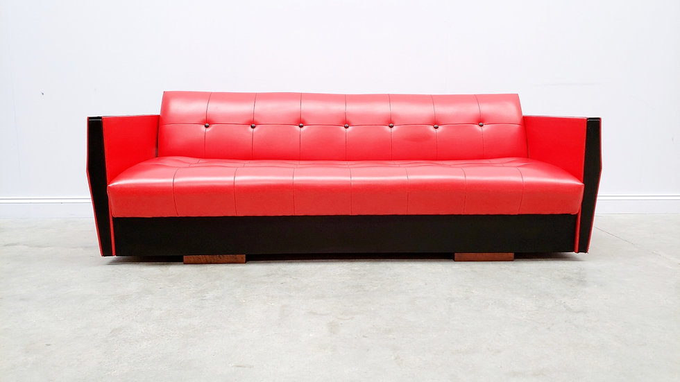 1960 Vintage Sofa Bed in Red and Black Leather