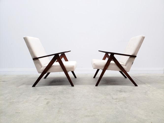 Model B 310 Var Mid Century Easy Chair in Ivory Velvet, 1960