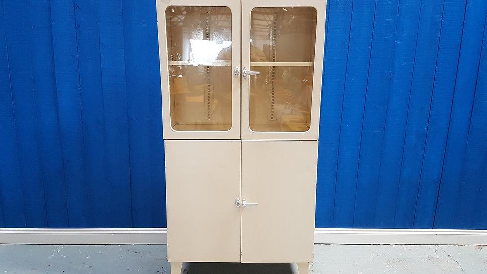 Metal Medical Doctor Display Cabinet, Smrecina oz Pukanec, 1950's Glass Wardrobe Storage