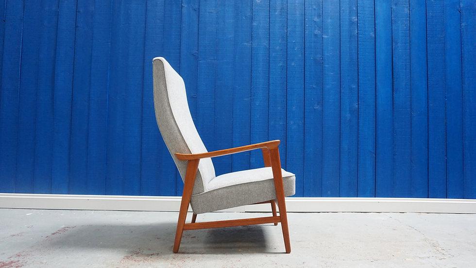 High Long Back Mid Century Armchair from 1960 Vintage Teak Modern