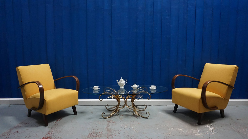 Jindrich Halabala Bentwood Armchairs in Yellow, Thonet 1930, Set of 2