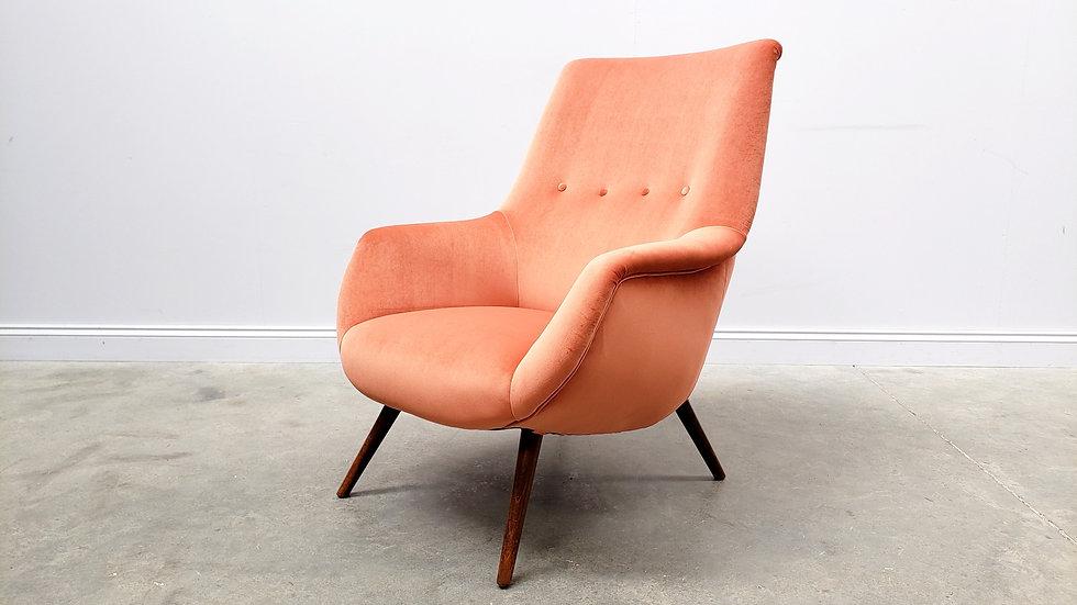 1960 Danish Lounger Club Chair in Coral Orange Velvet