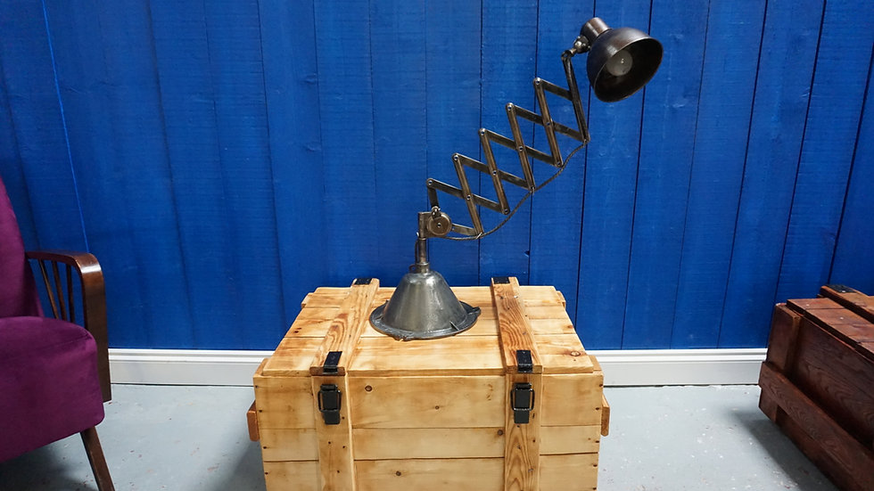 Vintage Industrial Scissor Desk Metal Table Lamp from 1950's