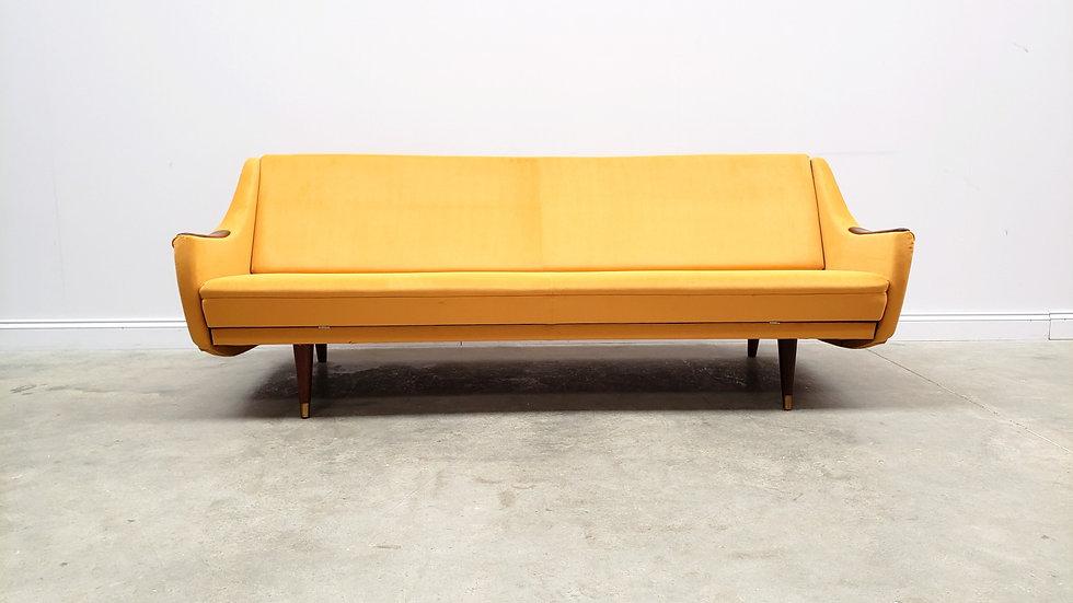 1960 Mid Century Danish Sofa Bed in Dark Yellow Upholstery